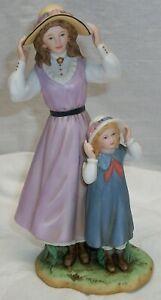 "HOME INTERIORS #88412-98 ""SUMMER DAYS"" WOMAN & CHILD W/ HATS PORCELAIN FIGURINE"
