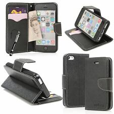 Black New Italian Design PU Leather Wallet Stand Case For Apple iPhone 5C