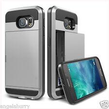 Silver Galaxy S5 Slide Card Armor Hard Tough Heavy Duty Case Cover for Samsung