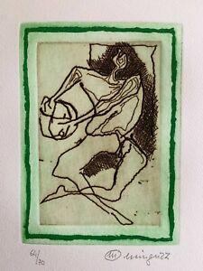 Luciano Minguzzi incisione Giocatrice Verde  50x35 firmata numerata 64/70