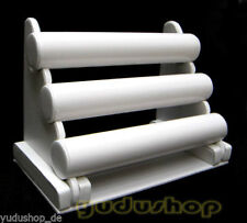 3 Jewelry Stand for Watch Strap Artificial Leather White
