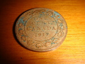 CANADA 1917, 1 Cent King George V, copper, well-toned decent circulated