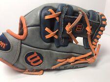 "🔥 Wilson A450 Ao4Rb17 1787 Navy Gray Orange 11 1/2"" Rht Leather Baseball Glove"