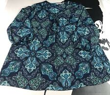 Liz Claiborne Womens Navy Green Blouse Paisley Blouse Career Size XL