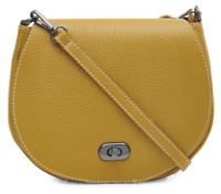 Ladies 100% Italian Real Leather Mustard Small Saddle Crossbody Bag PS249