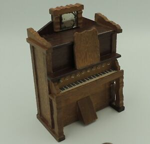 Piano Wind Up Music Box Vintage Dollhouse Furniture Secret Pull Out Drawer