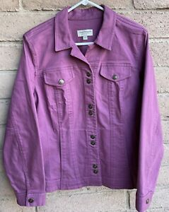 Norm Thompson Women's Denim Jean Jacket Pockets Orchid Size Large