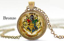 Hogwarts school of magic logo Harry Potter Bronze Chain Pendant Necklace