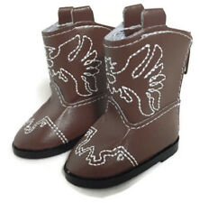 Brown Eagle Cowboy Boots Shoes for 14.5 inch American Girl Wellie Wishers Dolls
