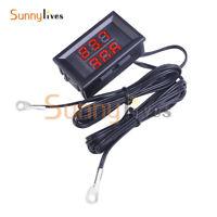 DC4-28V Digital Temperature Sensor NTC Metal Probe Dual LED Display Thermometer