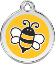 Bumble Bee Yellow Enamel/Solid Stainless Steel Engraved ID Dog/Cat Tag