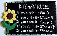 SUNFLOWER KITCHEN RULES SIGN Wall Art Hanger Hanging Plaque Home Wood Decor
