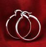 Womens 925 Sterling Silver Elegant Round Shaped Pierced Hoop Earrings #E74