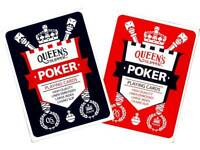 Queen's Slipper POKER Playing Cards Quality Casino Slip Linen Embossed Red/Blue