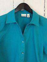 Kim Rogers Petite Large Women's Washable Linen Teal Blue Work Career Top Blouse