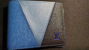 Louis-vuitton Slender wallet Blue Gray Black Unused