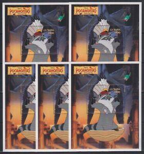 R455. 5x Guyana - MNH - Animation - Disney - Pocahontas - Bl.