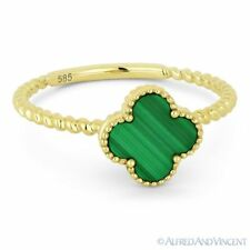 0.90ct Malachite Gemstone 14k Yellow Gold Right-Hand Flower Charm Statement Ring