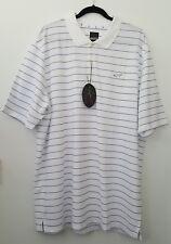 GREG NORMAN Mens Size 2XL Polyester Polo Shirt White Blue Stripes XXL. RRP $70