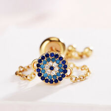 Turkey Style Devil's Eye Multi Color Topaz Yellow Gold Plated Adjustable Rings
