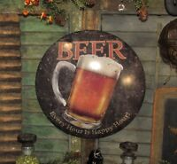 Prim Antique Vtg Style Happy Hour Beer Bar Pub Dome Tin Sign Father Day Gift