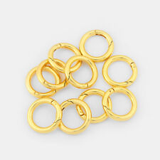 5Pcs Gold Tone Round Circle Spring Ring Clasp Connector Jewelry Making Findings