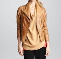 Womens Leather Jacket Tan Biker Casual Lambskin Jacket Size S M L XL XXL TBLC