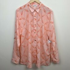 Jaclyn Smith Womens Button Up Top Peach Pink Career Casual XXL 2XL New Tags