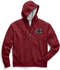 Champion Powerblend Chainstitch Charcoal Dark Red Full Zip Hoodie Men's XL