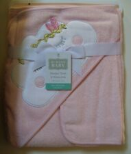 Girls Hudson Baby 2 Pc Peach Boho Cloud Hooded Towel and Washcloth