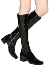 NEW Saint Laurent Black 40mm Babies Patent Leather Knee Boots SIZE 37 RRP£885