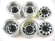 B Set  1/14 R/C  3-Axle 6X4 Tractor Truck  ALLOY WHEELS  BLACK Rims  re Tamiya