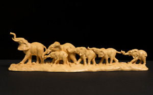 06 Elephants family Wood Carving home office table decor Crafts statues figures