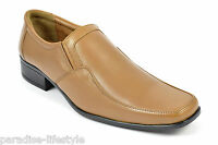 Men's Leather Slip on Shoes Black Brown Tan Formal Casual Party Italian Size New