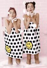 Victoria's Secret PINK Bath Towel Wrap Dot Smiley Black & White ~One Size OS