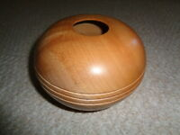 Hand made wood turned art vase R. Sauls small hole top three lines sides signed