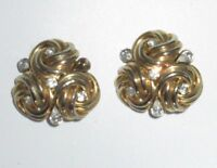 Vintage Clip On Earrings Statement Gold Tone Rhinestone Crystal Bold Abstract