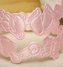 1M Baby Girl Pink Theme Embossed Satin 19mm Ribbon - Baby Feet,Bear,Dummy,Clip