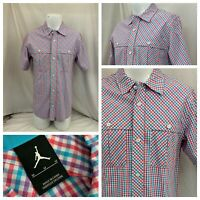 Nike Air Jordan Jumpman Shirt M Purple Aqua Plaid Cotton Poly SS NWOT YGI P1-160