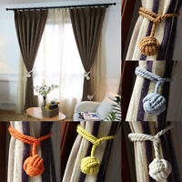 2Pcs Handmade Curtain Cotton Rope Tie Backs Ball Tiebacks Curtains Home Decor
