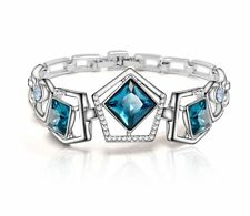 On Trend Platinum Plated Bracelet Bangle Made With Sea Blue Swarovski Crystals