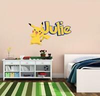Pokemon Pikachu PERSONALIZED NAME WALL STICKER Home Decals Kids Children WP46