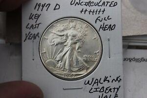 1947-D    FULL HEAD    UNC+++   WALKING LIBERTY HALF DOLLAR