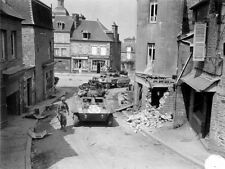 WWII B&W Photo M8 Greyhound Armored Cars Patrol  French Village   WW2 / 3014