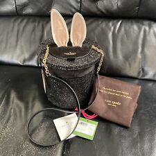 Kate Spade Make Magic Rabbit in Hat Black Glitter Top Hat Crossbody Bag NWT