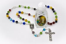 Bottle of Lourdes Holy Water & Murano Rosary Beads Catholic Gift FROM LOURDES