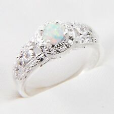 Classical Round Cut White Fire Opal Vintage Silver Woman Ring US Size 7 8 9