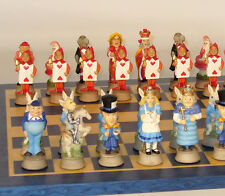 "ALICE IN WONDERLAND CHESS SET - BLUE INLAID BOARD 12½ "" - K=3¼"" (ww r75144-bt)"