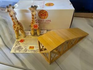 Steiff 1992 Mohair Giraffe Ramp Giraffes Pair For Noah's Ark Certificate RARE