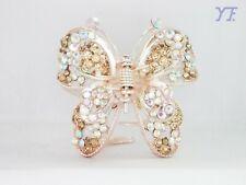 Paris New Design Hair Claw Yellow Austrian Crystal Rhinestone Butterfly
